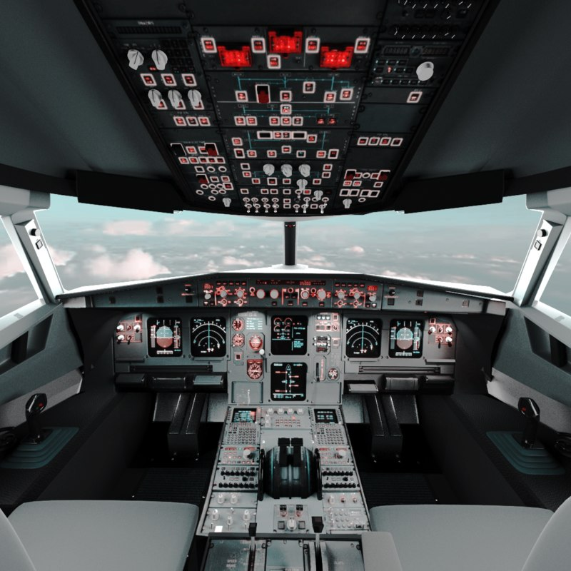 3D a320 airplane cockpit model
