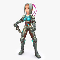 3D rigged woman character