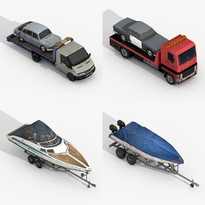 tow trucks trailer boats 3D