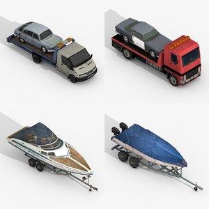 tow trucks trailer boats 3D