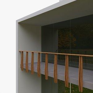 3D balcony wood