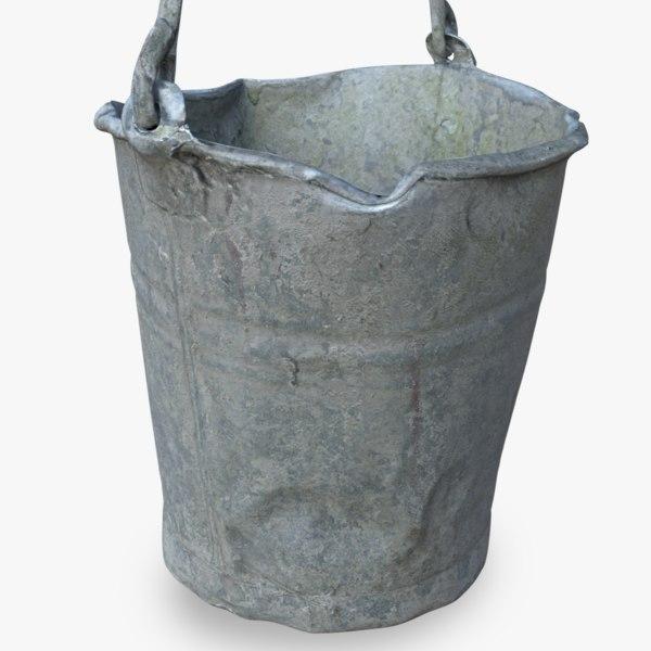 3D old metal bucket