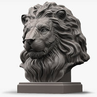 Lion Head Sculpture for 3d Printer