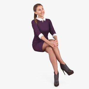 casual woman human body 3D model
