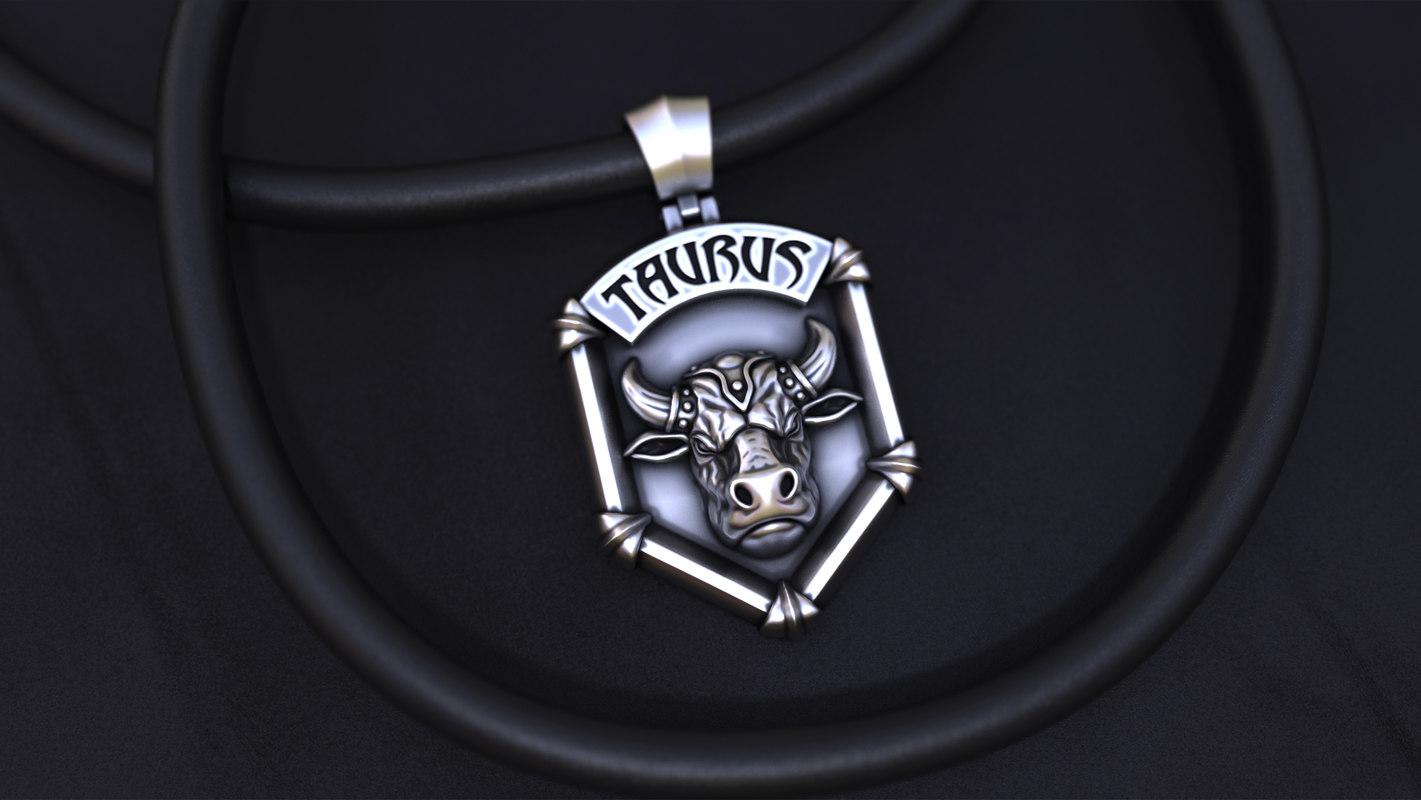3D horoscope jewellery silver pendant model