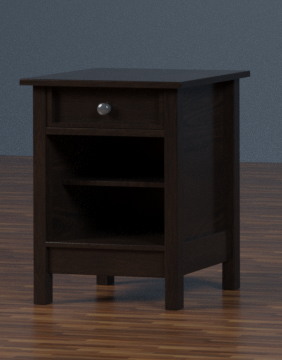 3D nightstand interior wood