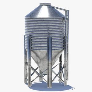 3d chicken silo feed model