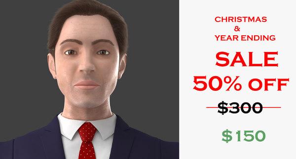 3D realistic suit man character