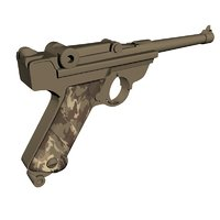 walther p1 pistol 3D