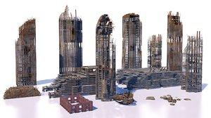 3D model buildings skyscrapers ruins