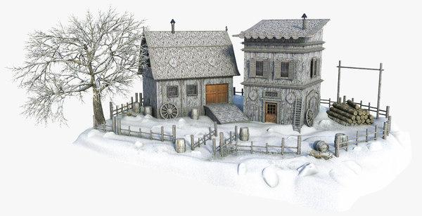snow winter house 3D model