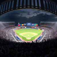 Baseball Stadium with Animated Audience