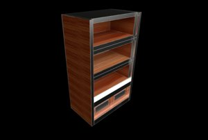 bookshelf wood silver 3D