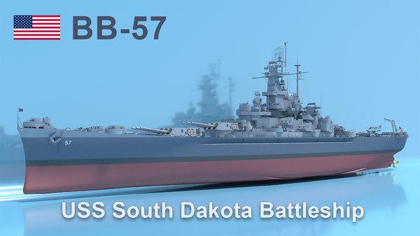 3D uss south dakota battleship model
