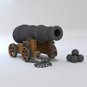 cartoon cannon 3D model