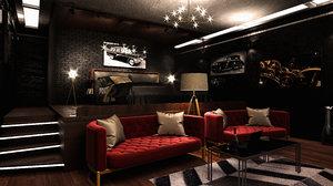 corona bedroom 3D model