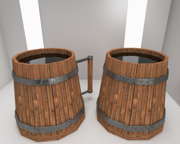 3D scandinavian mugs wood model
