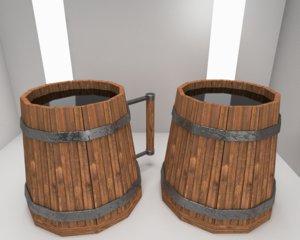 3D scandinavian mugs wood model