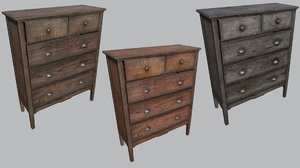 3D model large old wooden dresser