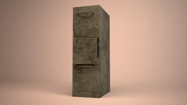 3D grunge cabinet files model
