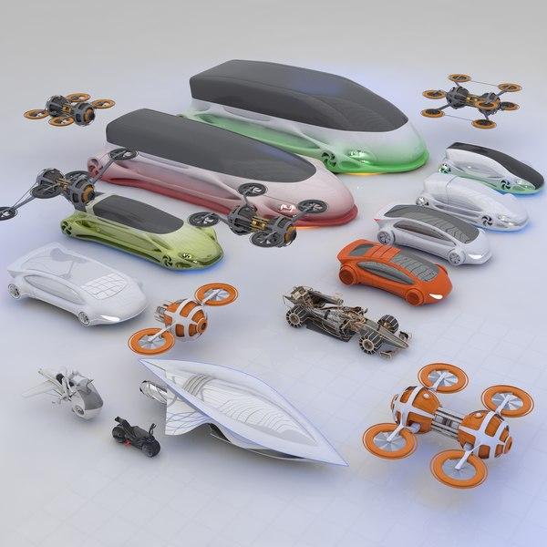 futuristic hd future transport 3D model
