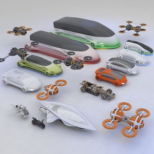 futuristic hd future transport 3D model