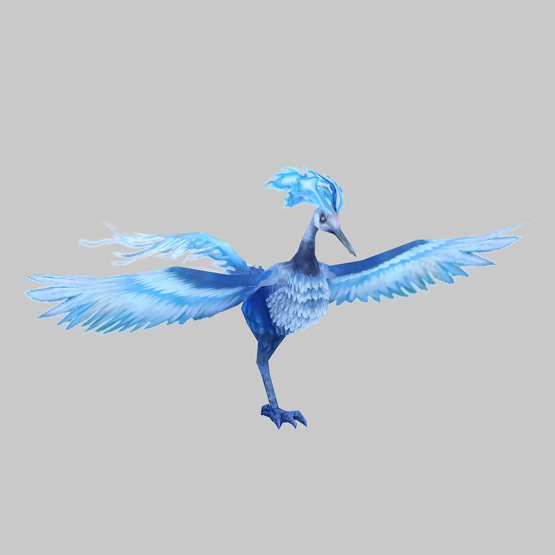 3D blue phoenix monster model