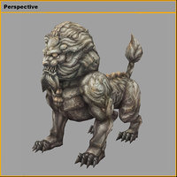 3D monster - stone lion