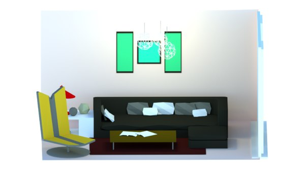 3D living room low-poly interior model