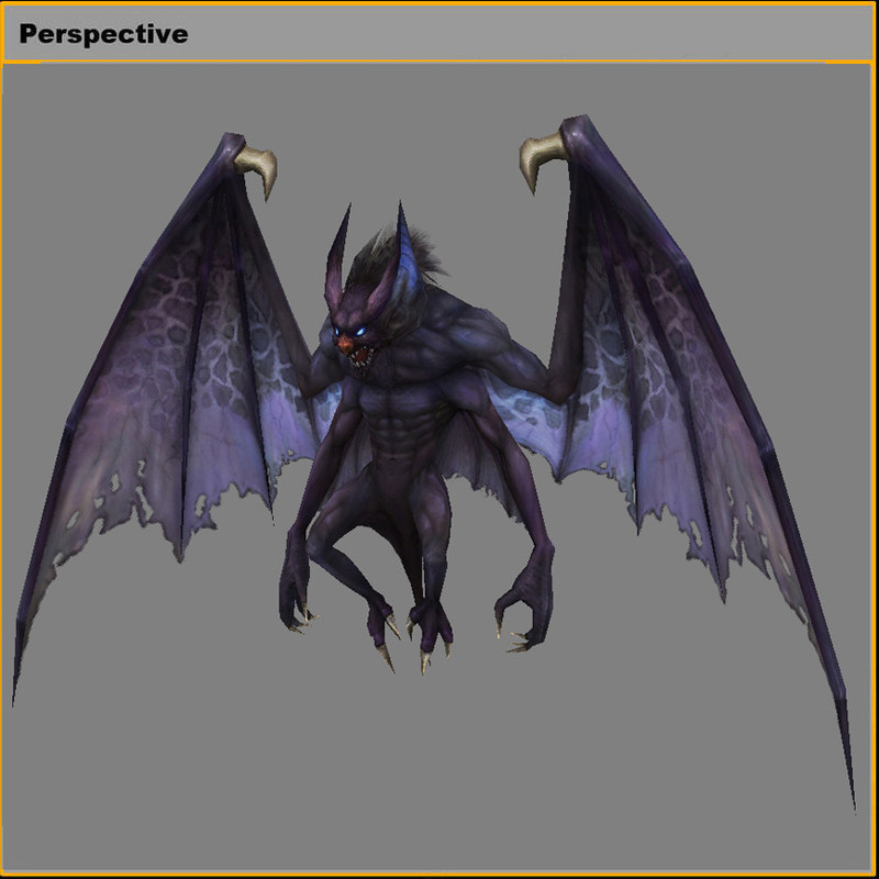 3D model monster - four-winged bat