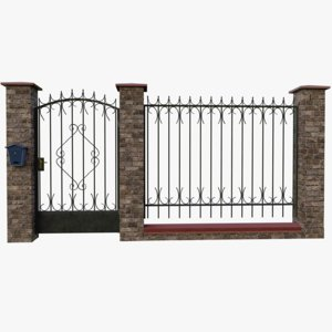3D brick fence model