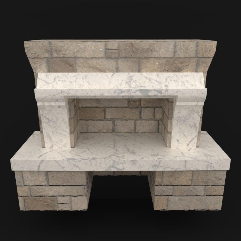 3D model place fireplace