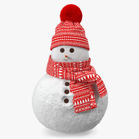 3D little snowgirl christmas snow model