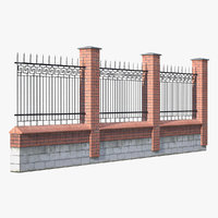 old brick wall iron fence 3D