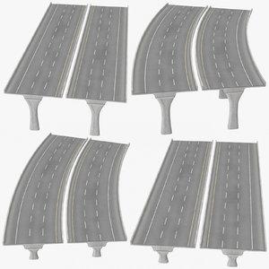 3D 3 lane raised highways model