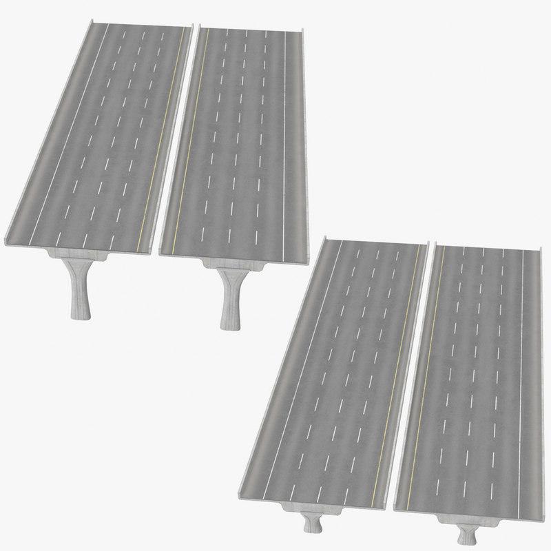 3D 4 lane raised highways