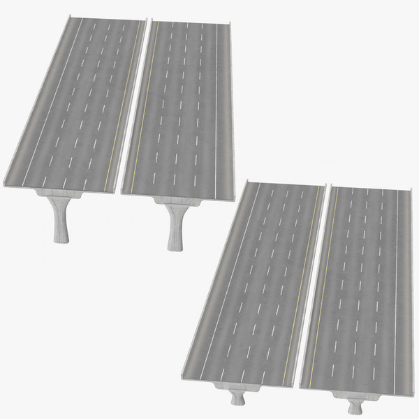 3D 4 lane raised highways