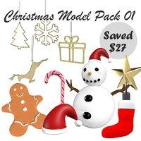 3D christmas pack 01 model