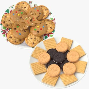 3D biscuits cookies plates model