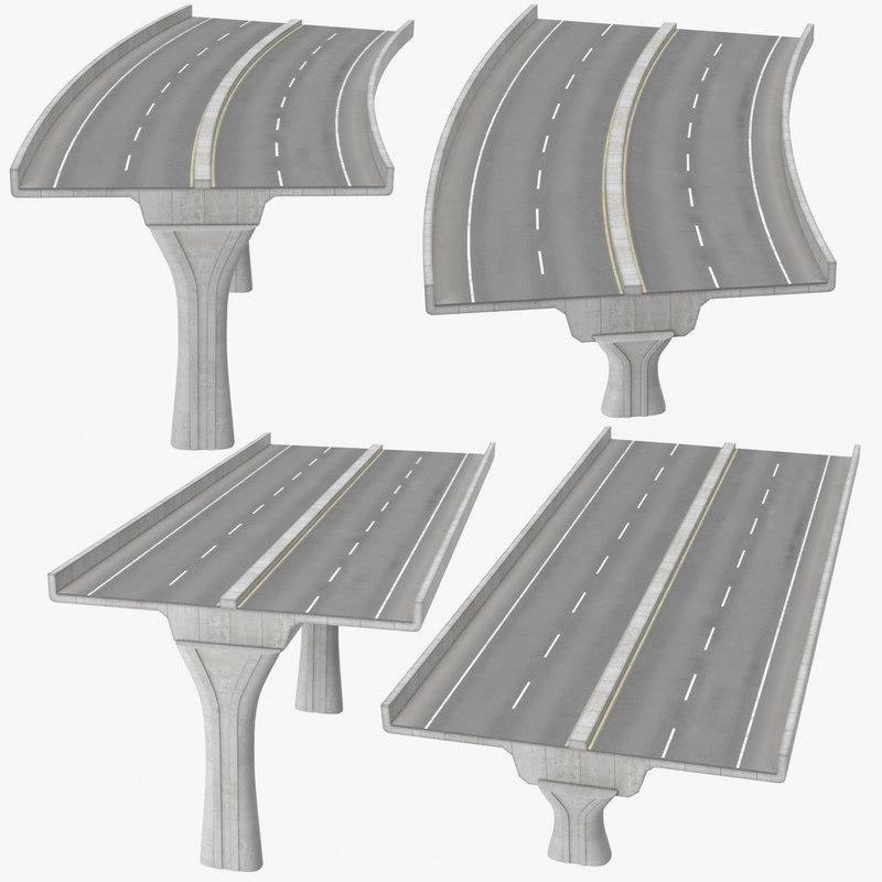 2 lane raised highways 3D model