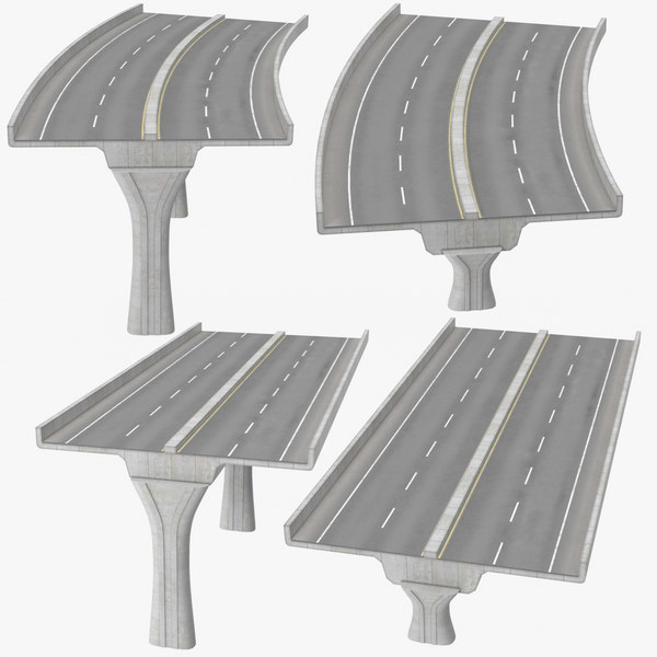 2 lane raised highways 3D model