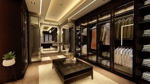 3D modern walk wardrobe model
