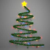 3D christmas tree wall