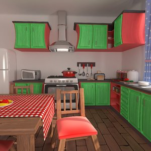 3D cartoon kitchen model