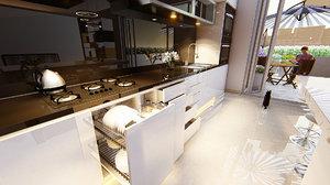 3D model modern kitchen set
