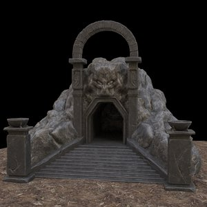 3D cave-entrance cave entrance model