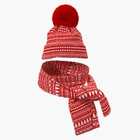 christmas hat scarf 3D model