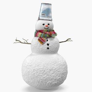 3D christmas snowman snow