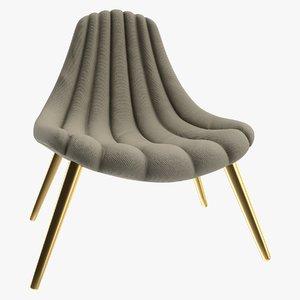 3D realistic brigitte navy lounge chair