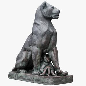 lioness kittens sculpture 3D